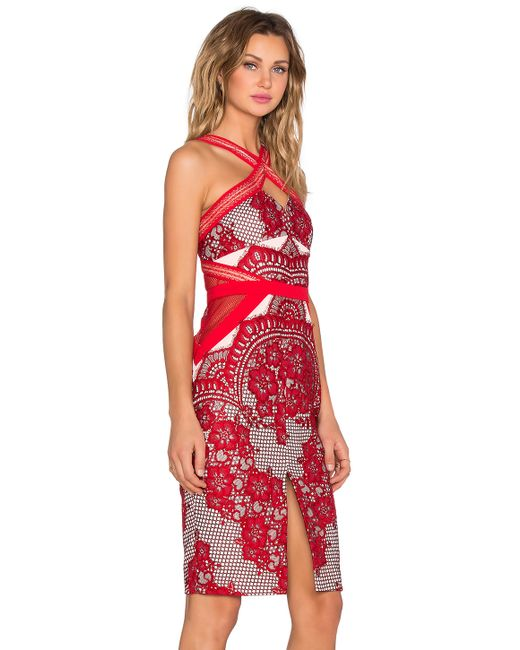 Three floor aruba midi dress in red save 30 lyst for 11th floor apparel
