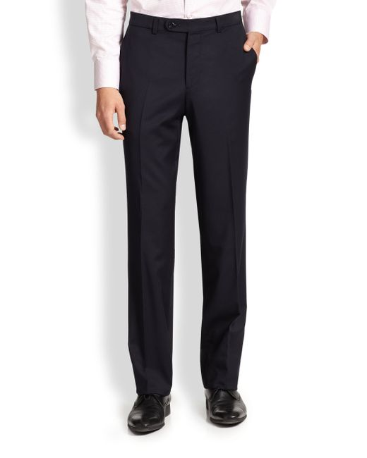 Saks Fifth Avenue | Blue Wool Dress Pants for Men | Lyst