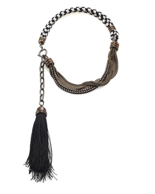 Lanvin | Black Vita Short Tassle Necklace | Lyst