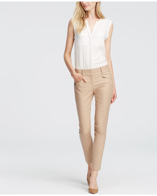 Ann Taylor | Natural Petite Devin Cotton Twill Skinny Ankle Pants | Lyst