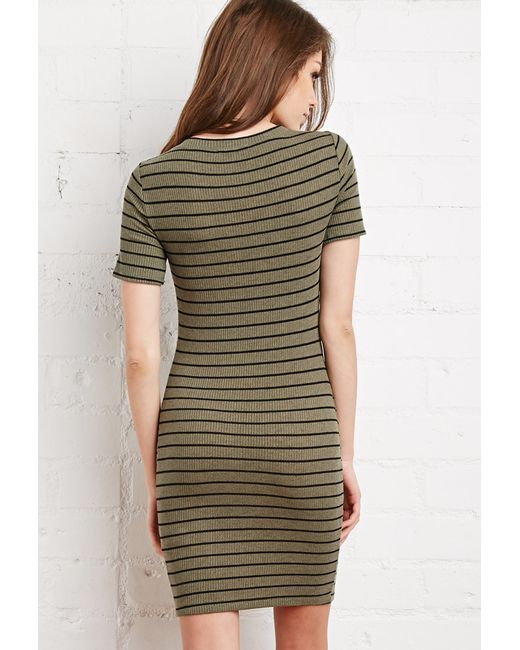 Forever 21 | Green Stripe Ribbed Knit Dress | Lyst