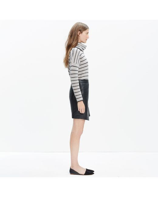 madewell leather overlap skirt true black in black true