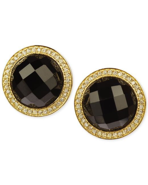 Macy's | Black Onyx (14 Ct. T.w.) And Cubic Zirconia Stud Earrings In 14k Gold Over Sterling Silver | Lyst