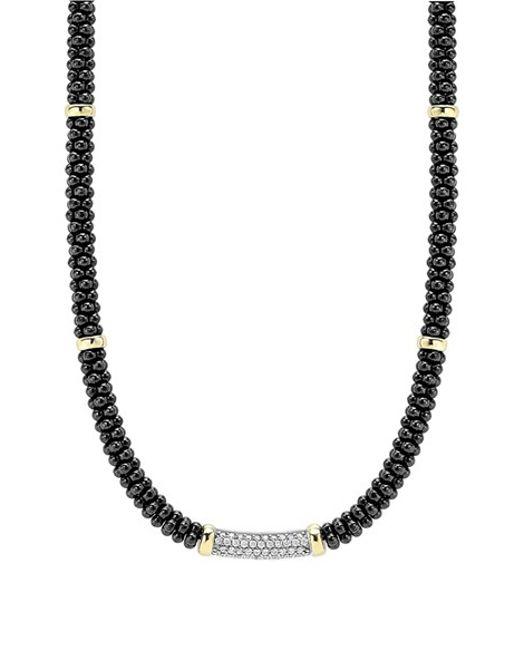 Lagos | 'black Caviar' 5mm Beaded Diamond Bar Necklace | Lyst