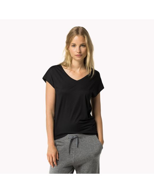 Tommy Hilfiger | Black Modal Stretch V-neck T-shirt | Lyst