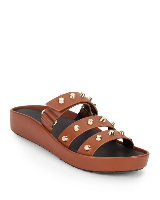 Gentle Souls   Brown Unity Studded Leather Slide Sandals   Lyst