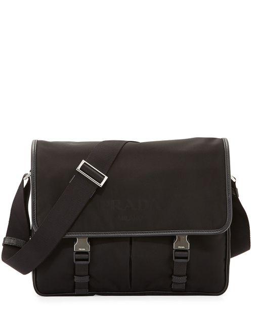 Prada | Black Small Nylon Messenger Bag for Men | Lyst
