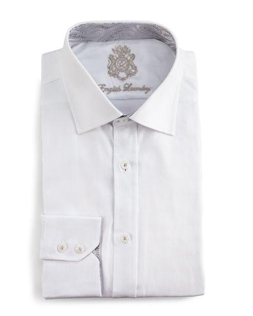 English laundry tonal herringbone dress shirt in white for for White herringbone dress shirt