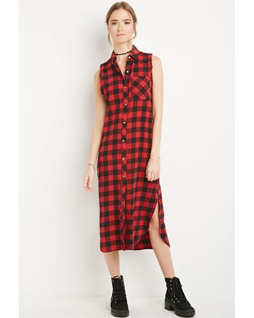 Forever 21 | Red Raw-cut Flannel Shirt Dress | Lyst