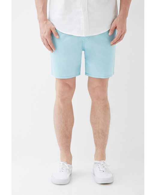 Forever 21 | Blue Cotton Twill Drawstring Shorts for Men | Lyst