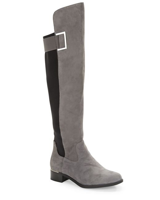 calvin klein cylan suede knee high boots in gray grey lyst