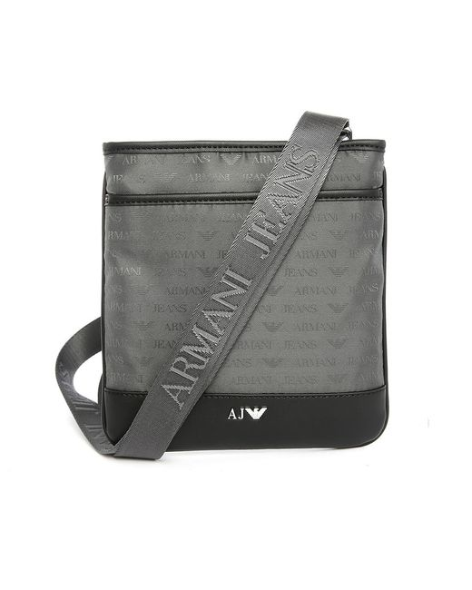Armani jeans Grey Aj Logo Small Format Bag in Gray for Men ...