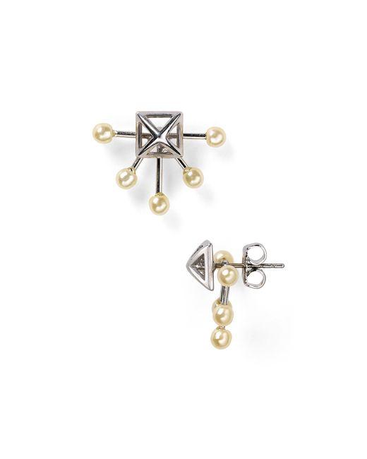 Rebecca Minkoff | White Pyramid Fan Stud Earrings | Lyst