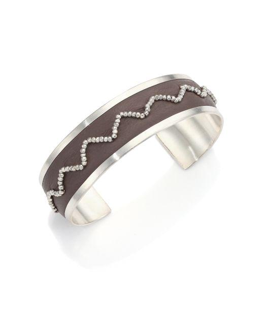 Chan Luu | Metallic Beaded Leather & Sterling Silver Cuff Bracelet | Lyst