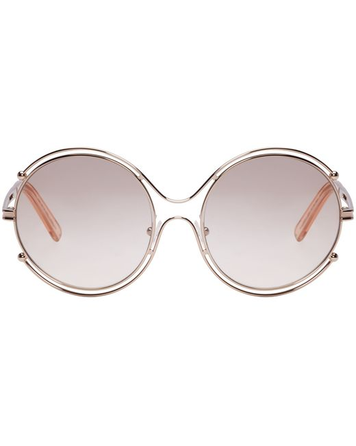 Chloe Gold Frame Sunglasses : Chloe Rose Gold Isidora Sunglasses in Pink (rose) Lyst