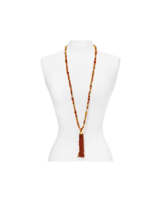 "Kenneth Jay Lane | Red Beaded Tassel Necklace, 36"" | Lyst"