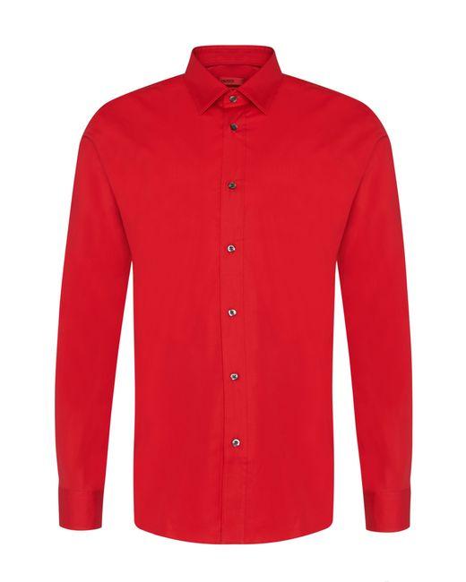 HUGO | Red Plain Slim-fit Shirt In Stretch Cotton: 'elisha' for Men | Lyst