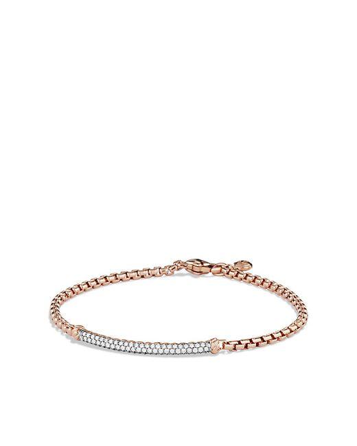 David Yurman   Pink Petite Pavé Bar Metro Bracelet With Diamonds In Rose Gold   Lyst