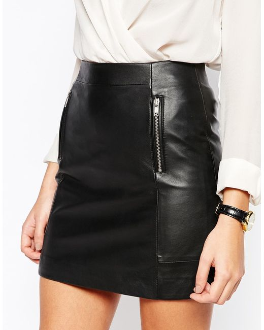 warehouse premium leather zip detail skirt in black lyst