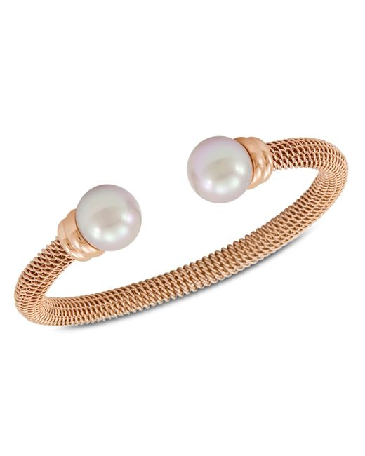 Majorica | White Organic Man Made Pearl And Rose Gold-tone Stainless Steel Bangle Bracelet | Lyst