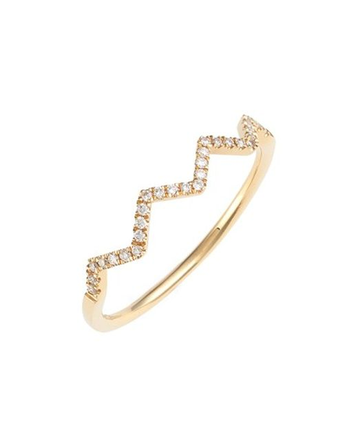 Bony Levy | Metallic 'stackable' Zigzag Diamond Ring (nordstrom Exclusive) | Lyst