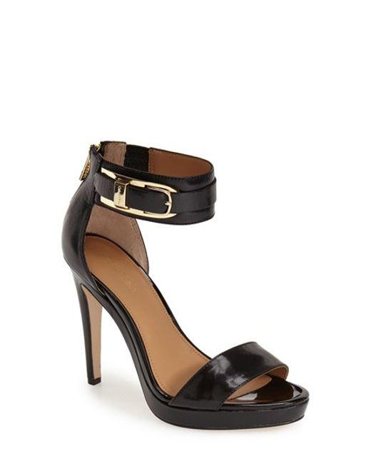 Calvin Klein | Black 'panthea' Ankle Strap Sandal | Lyst