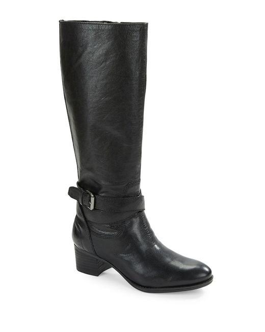 Nine West   Black Vani Leather Riding Boots   Lyst
