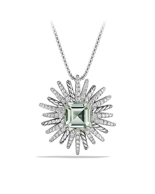David Yurman | Green Starburst Necklace With Diamonds And Prasiolite In Silver, 38mm | Lyst