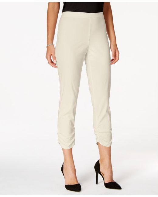 Style & Co.   Natural Ruched Hem Cropped Skinny Capri Pants, Only At Macy's   Lyst
