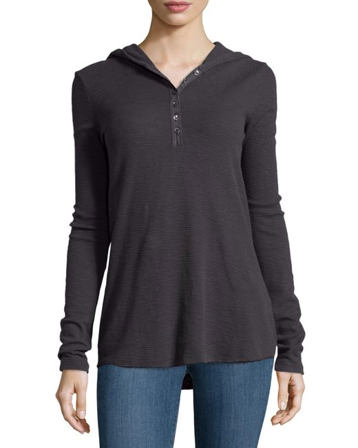 James perse thermal hooded henley in black railing lyst for James perse henley shirt