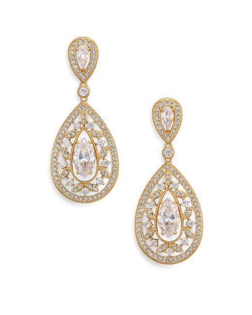 Adriana Orsini | Metallic Pave Crystal Small Pear Drop Earrings/goldtone | Lyst