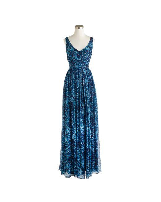 J.Crew | Blue Heidi Long Dress In Watercolor Silk Chiffon | Lyst
