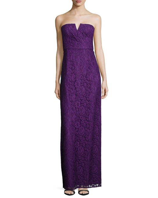 Donna Morgan | Purple Reese Strapless Lace Column Gown | Lyst