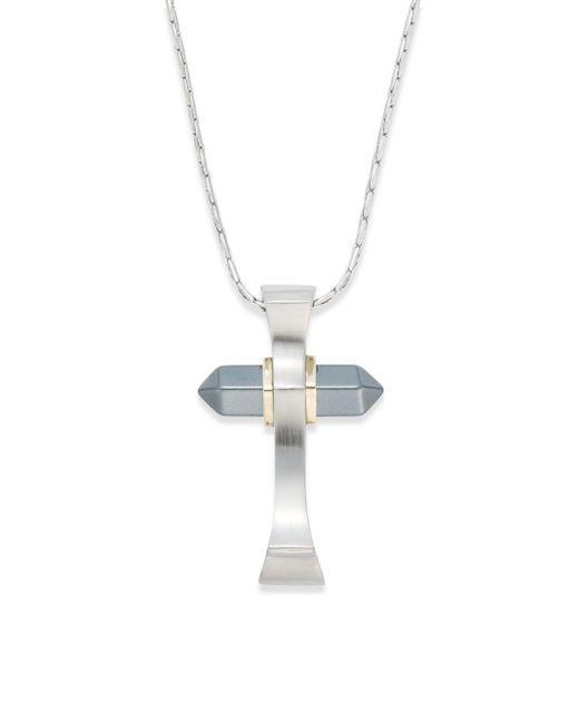 Saks Fifth Avenue | Metallic 14k Gold, Stainless Steel, Titanium Cross Pendant for Men | Lyst