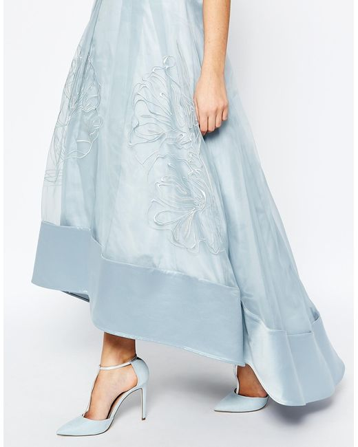 coast sulla embroidered skirt in pale blue in blue