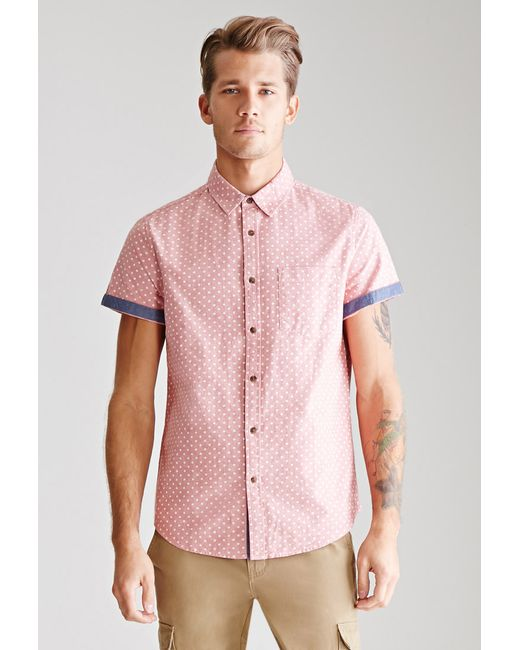 Forever 21   Pink Polka Dot Oxford Shirt for Men   Lyst