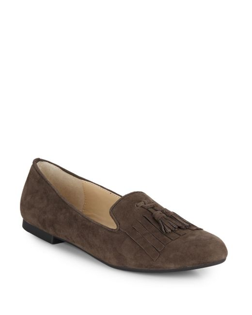 Adrienne Vittadini | Brown Aldon Suede Flats | Lyst