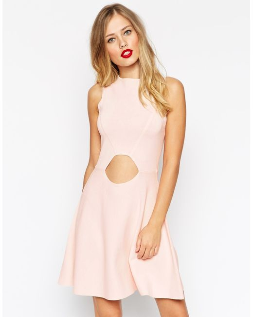 ASOS | Pink Skater Dress In Structured Knit With Cut Outs | Lyst
