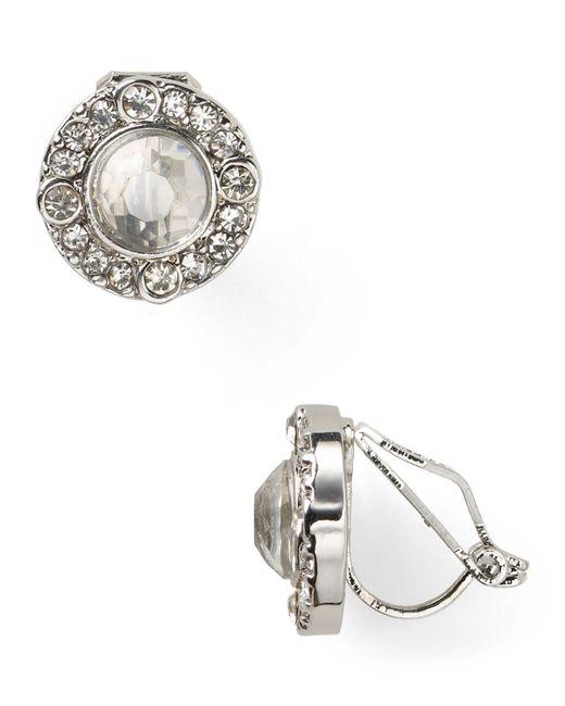Pink Pony | White Lauren Faceted Crystal Stud Earrings | Lyst