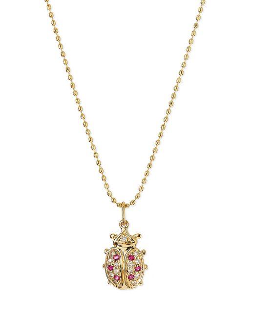 Sydney Evan | Pink 14k Gold Diamond & Ruby Ladybug Pendant Necklace | Lyst