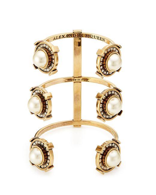 Alexander McQueen | Metallic Embellished Cuff Bracelet - Gold | Lyst
