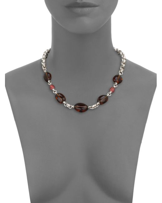 John Hardy Sterling Silver And Ruby Dragon Circle Necklace