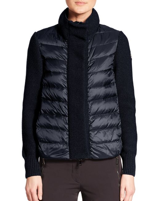 Moncler | Blue Mixed-media Cardigan | Lyst