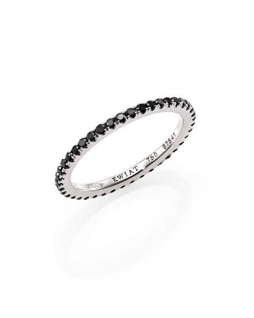 Kwiat | Black Diamond & 18k White Gold Eternity Stacking Ring | Lyst
