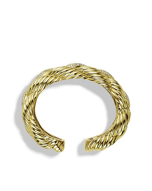 David Yurman | Metallic Woven Cable Wide Cuff Bracelet With Diamonds In Gold | Lyst