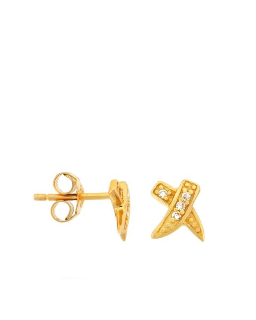Lord & Taylor | Metallic 18kt Yellow Gold Over Sterling Silver Pave Cubic Zirconia Earrings | Lyst