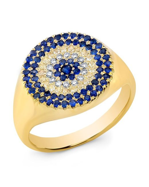 Anne Sisteron | Blue 14kt Yellow Gold Diamond And Sapphire Disc Ring | Lyst