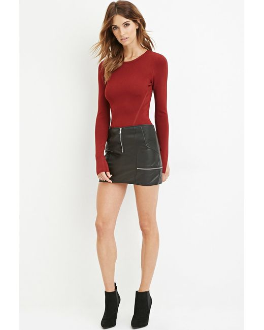 Forever 21 | Red Ribbed Crop Top | Lyst