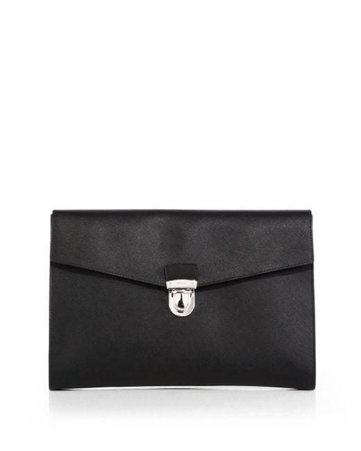 Prada saffiano travel document holder in black for men lyst for Prada mens document holder