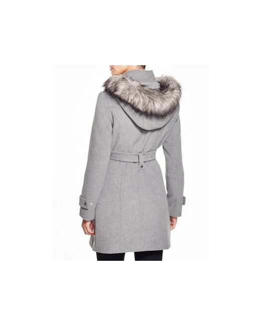 Calvin Klein | Gray Belted Coat With Faux-fur Trim | Lyst
